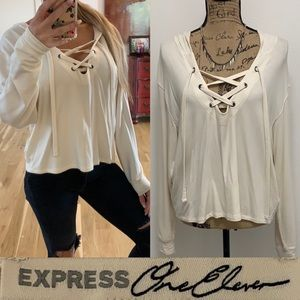 Express Lace-Up Hooded Sweatshirt